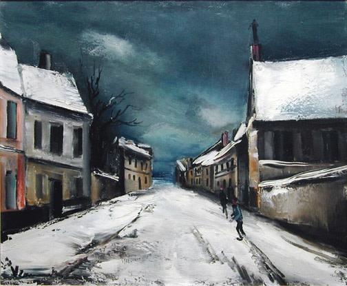 MAURICE DE VLAMINCK  Rue de village sous la neige, 1935 (circa)