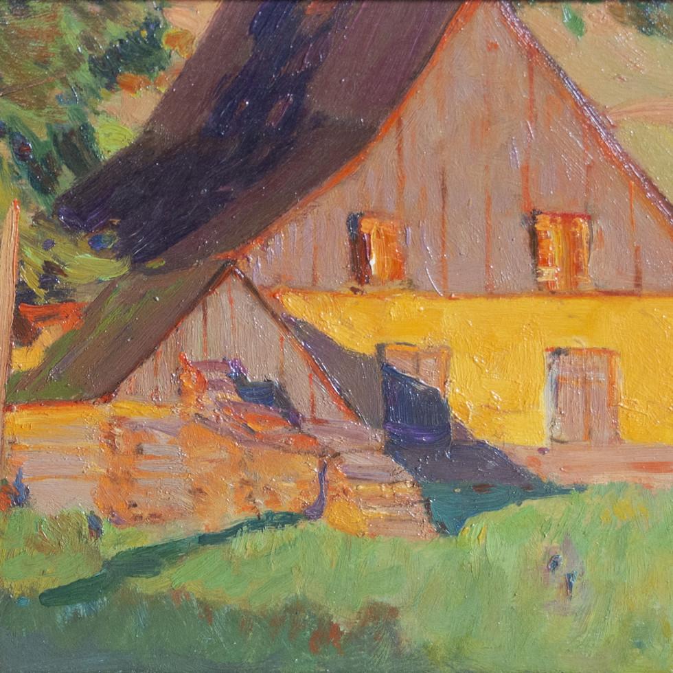 Maison de Fermiers au soleil couchant (Baie St. Paul)-Clarence A. Gagnon