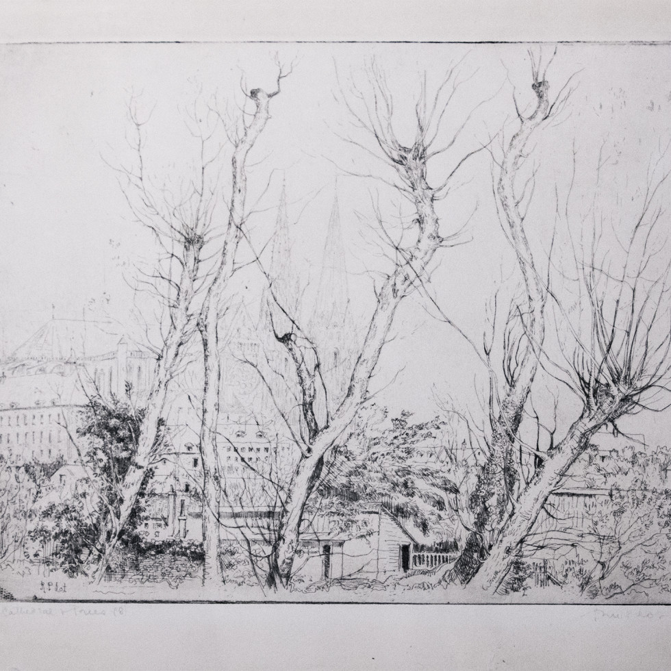 The Cathedral and Trees-Robert Pilot, R.C.A., R.A., LL.D.