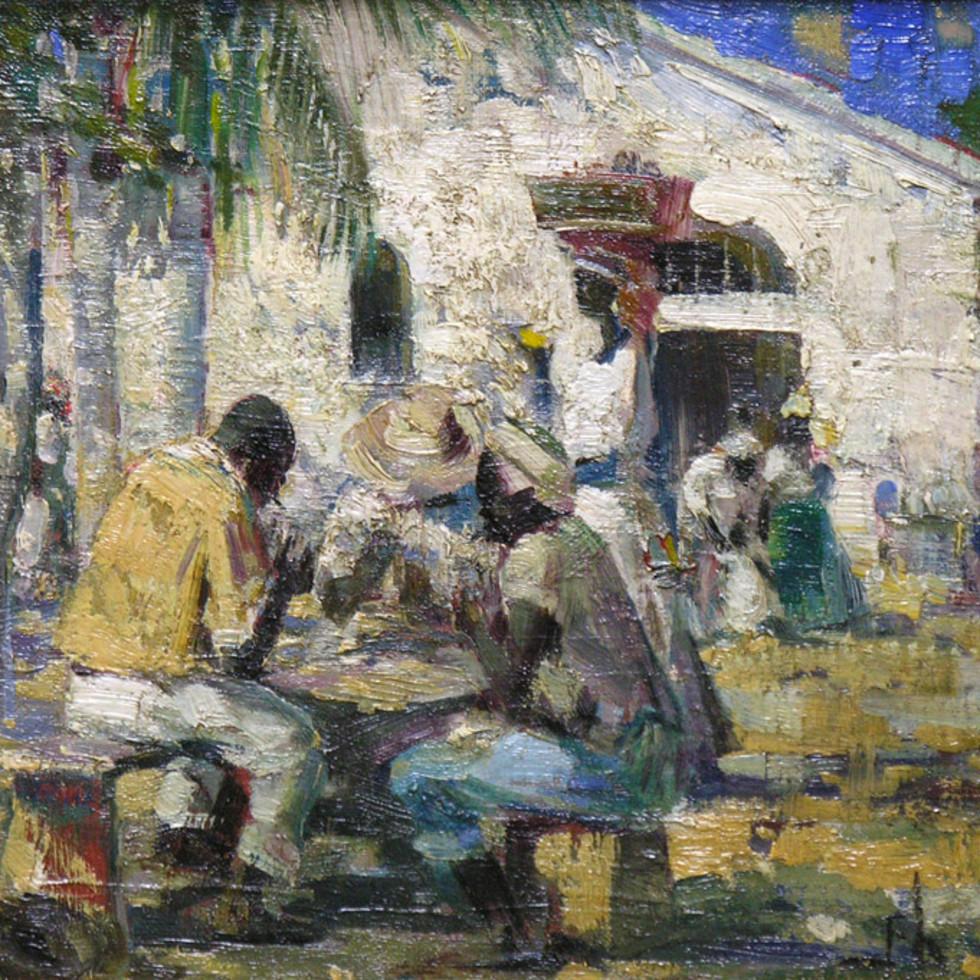 The Card Game, Basseterre, W.I. (St. Kitts) - Le jeu de cartes, Basseterre (Saint-Kitts) des Indes Occidentales)-Franklin Brownell, R.C.A.