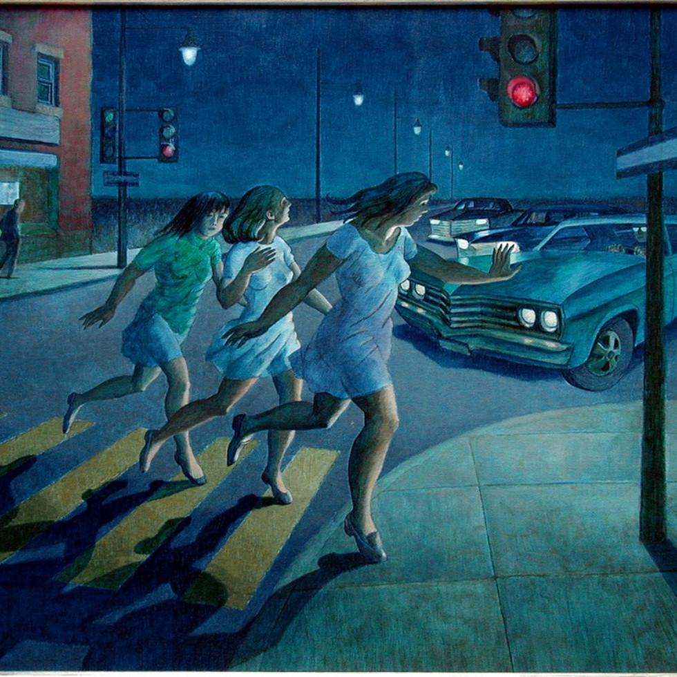 Trois filles menaces par une automobile-Philip Surrey, C.M., LL.D., R.C.A.