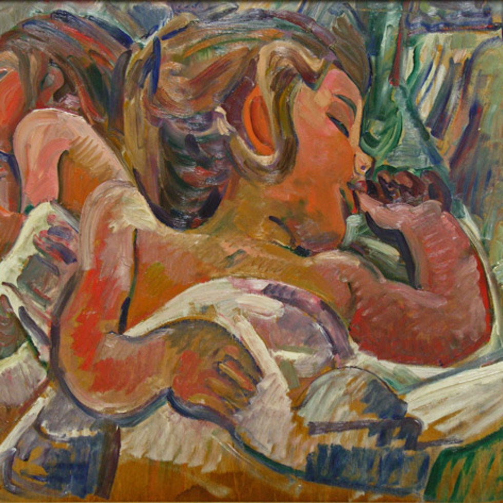 [Verso] Girl Sucking Her Thumb (probably the artist's daughter) - [Verso] Jeune fille suçant son pouce (probablement la fille de l'artiste)-Pegi Nicol MacLeod