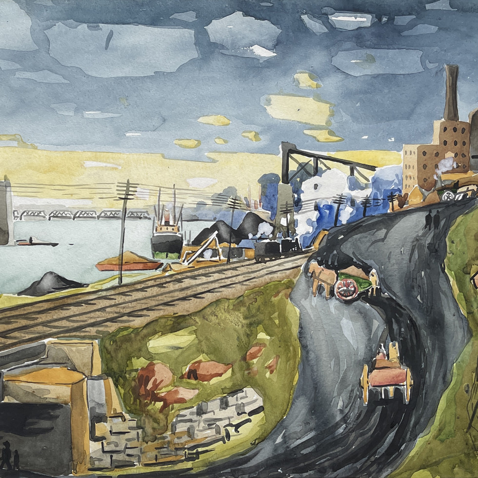 Le port (Hochelaga, the Jacques-Cartier Bridge under construction)-Marc-Aurèle Fortin