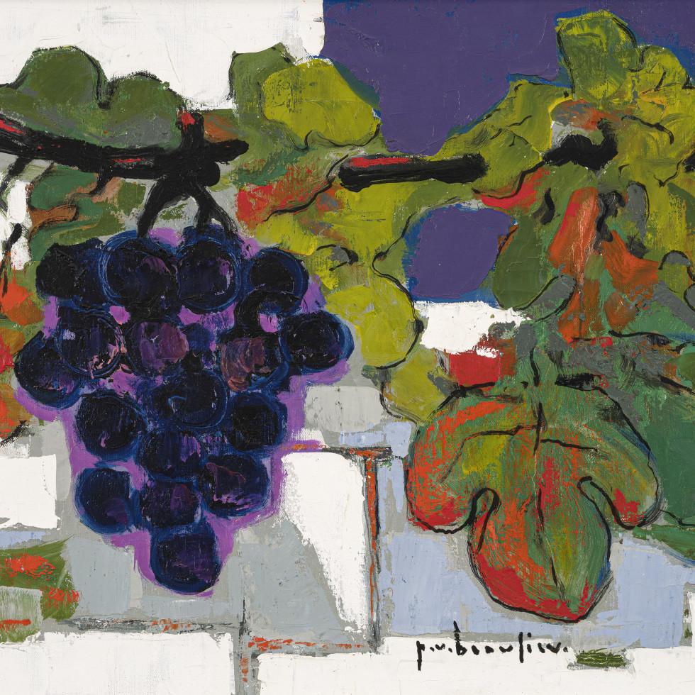 Nature morte raisin fond bleu-Paul Vanier Beaulieu