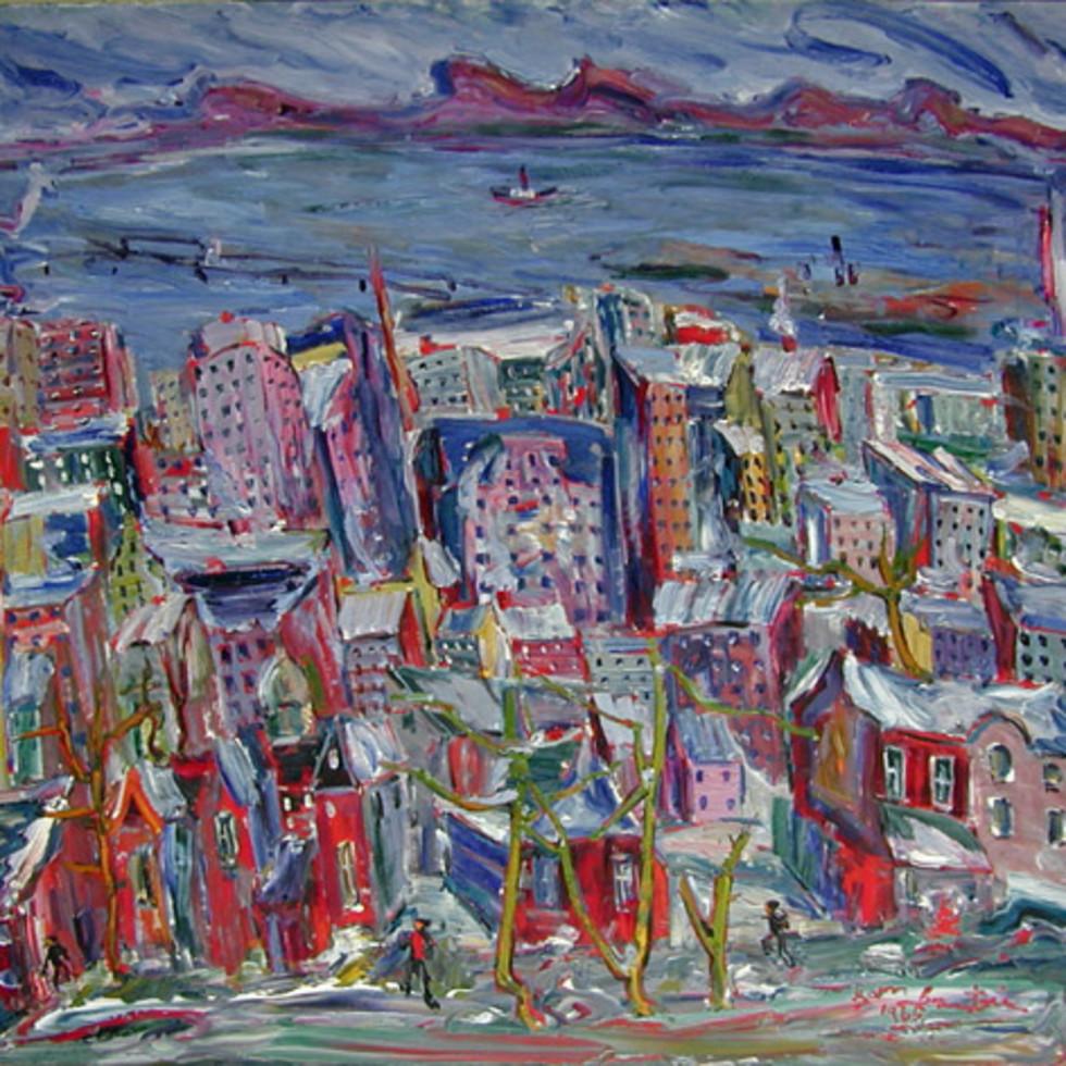 View of Montreal and the St. Lawrence River - Vue de Montréal et du fleuve St-Laurent-Sam Borenstein