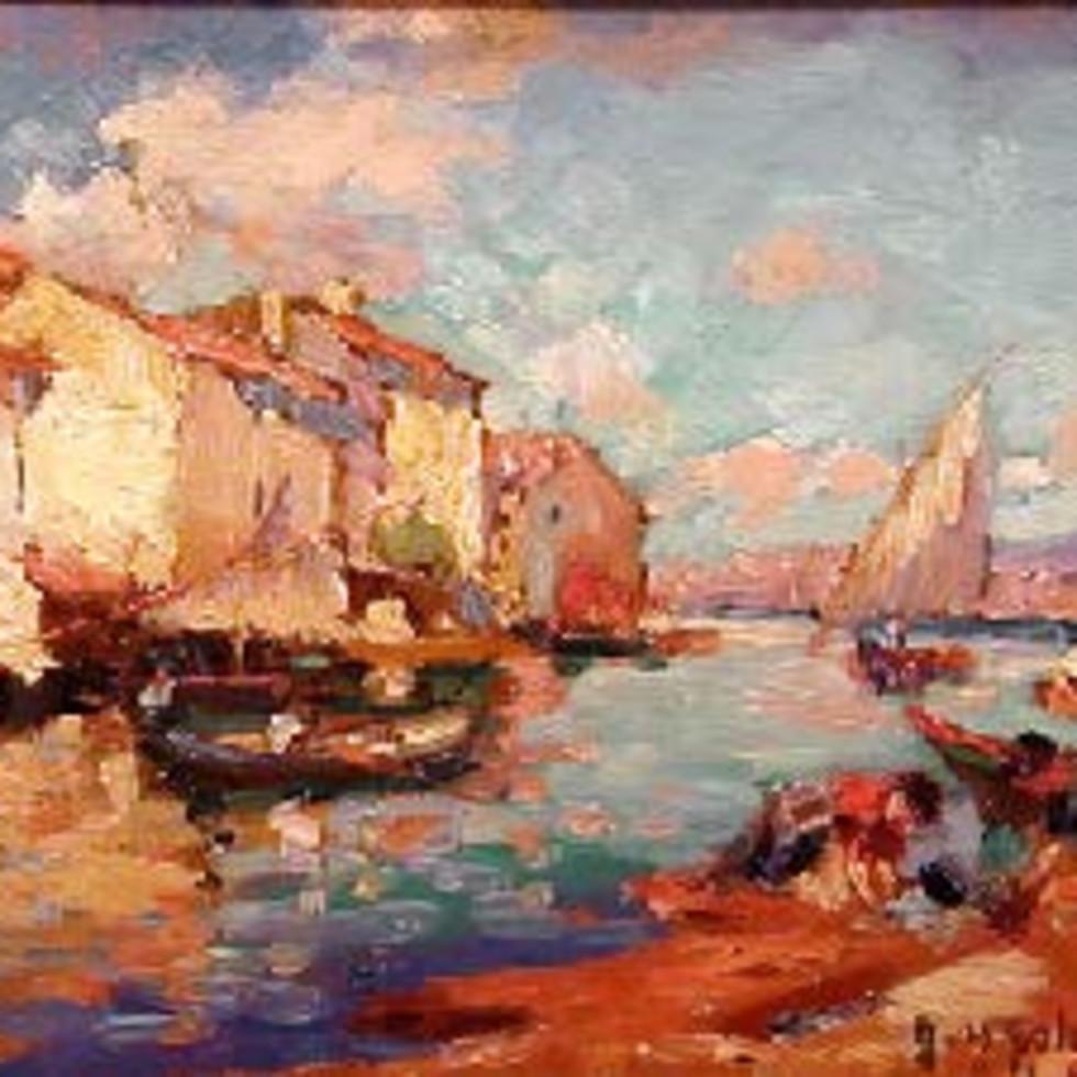 Harbour Scene, Cuba - Havre, Cuba-John Young Johnstone, A.R.C.A