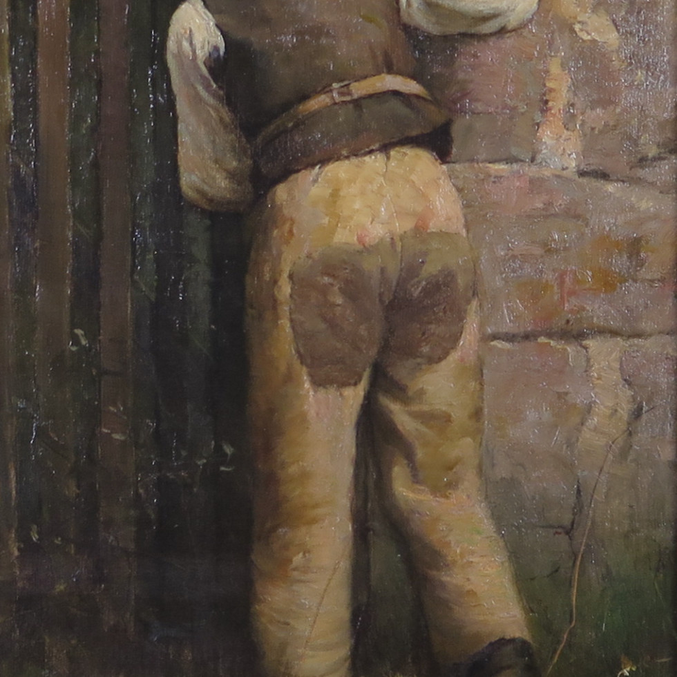 Young Curious Boy - Jeune gamin curieux-Percy Woodcock, R.C.A.