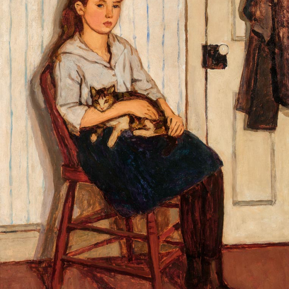 Girl and Cat - Jeune fille et chat-Emily Coonan