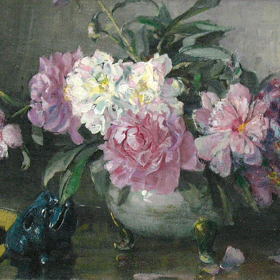 Still Life with Peonies - Nature morte aux pivoines-Franklin Brownell, R.C.A.
