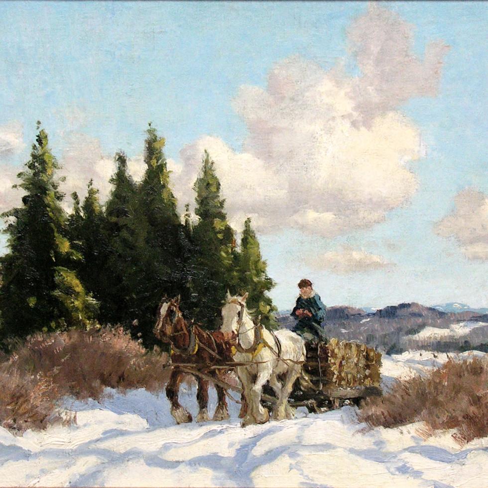 Logging Team near Richmond, Quebec - Le transport des billots, près de Richmond, Québec-Frederick Simpson Coburn, R.C.A.