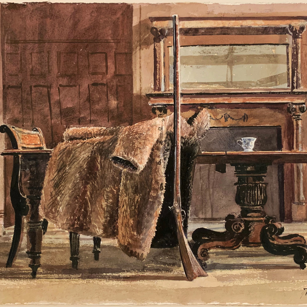 Untitled (Artist's Dining Table with Kentucky Rifle and Fur Coat)-Tom Forrestall