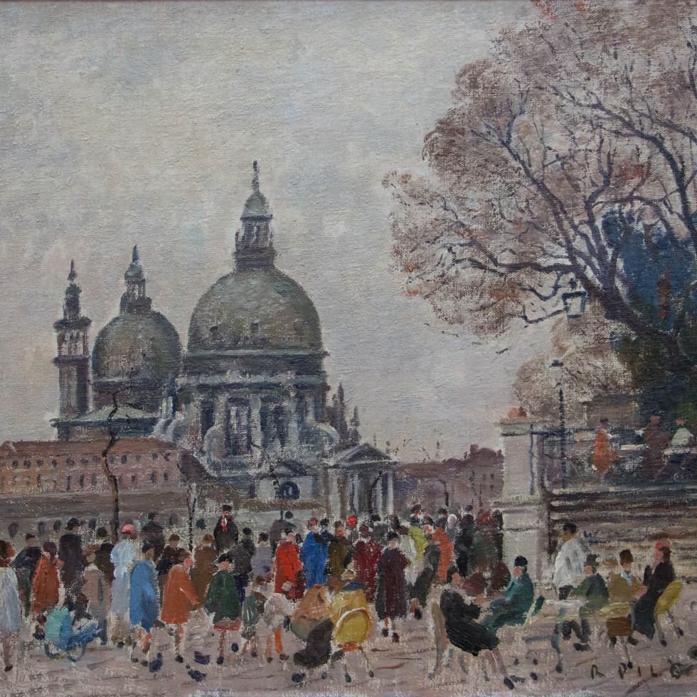 Cafe, View of Santa Maria della Salute from Piazza San Marco-Robert Pilot