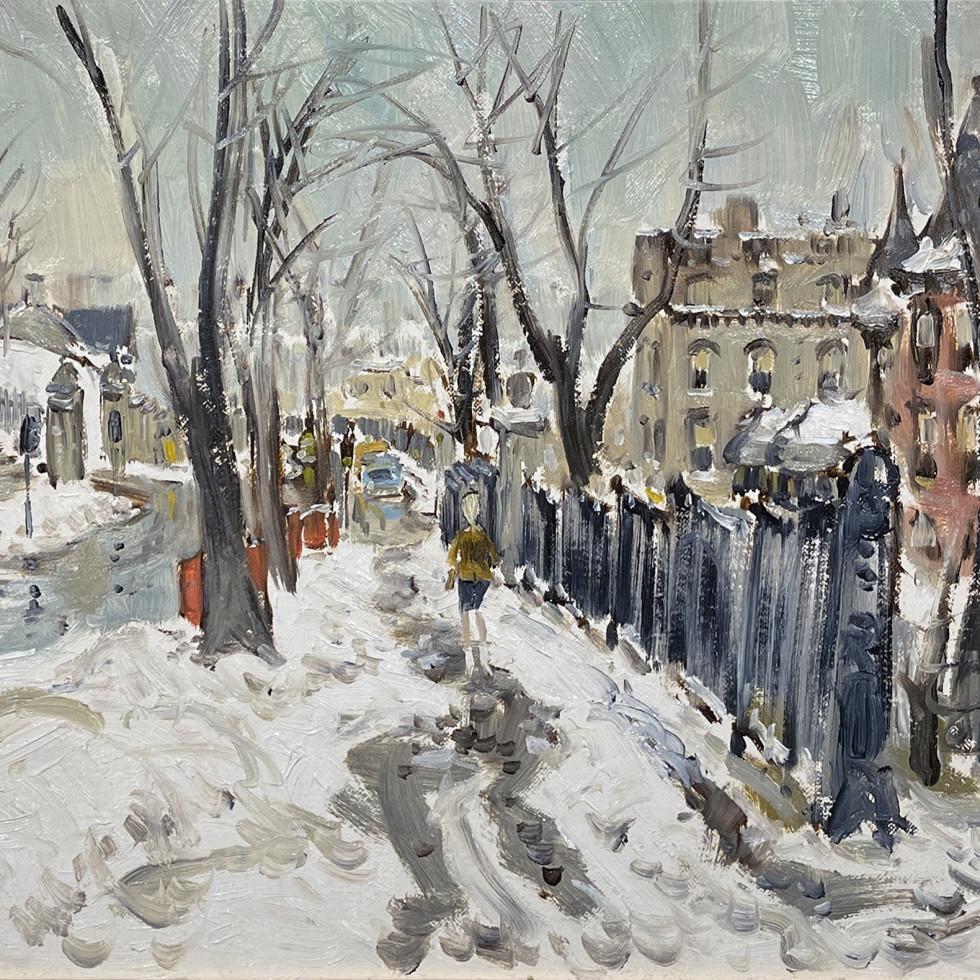 Sketch, Pine Ave above Peel, Montreal-John Little