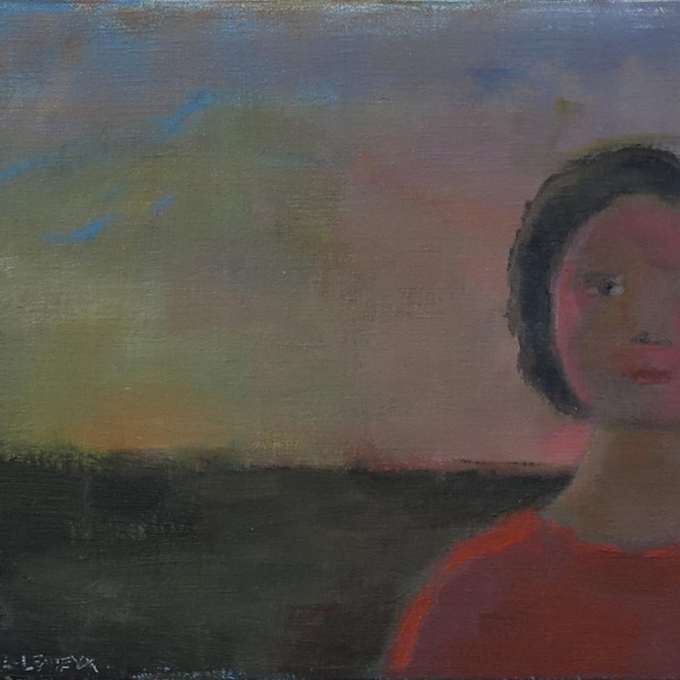 Young Girl at Sunset - Jeune Fille au coucher du soleil-Jean Paul Lemieux, C.C., G.O.Q., R.C.A.