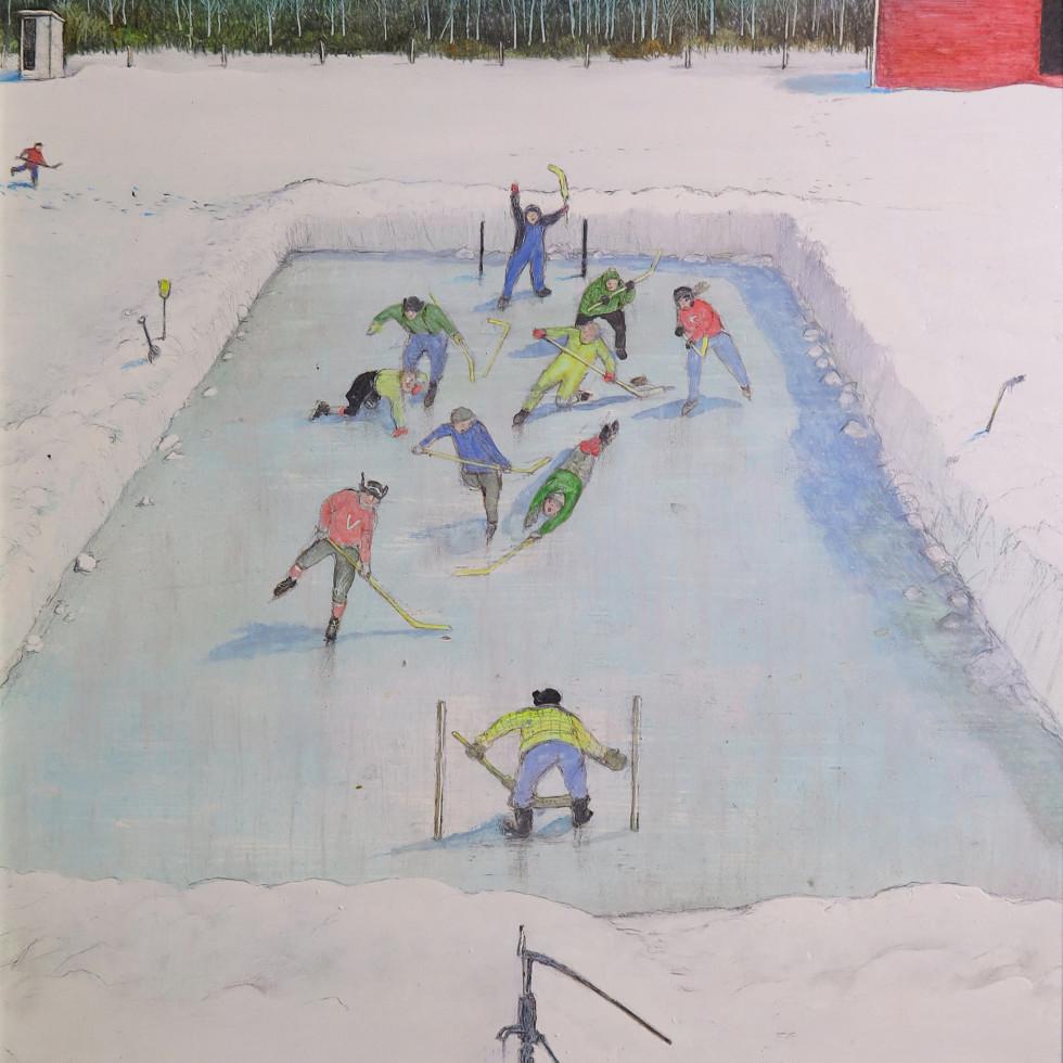 Hockey Game on the Prairies-William Kurelek, C.M., R.C.A., O.S.A.