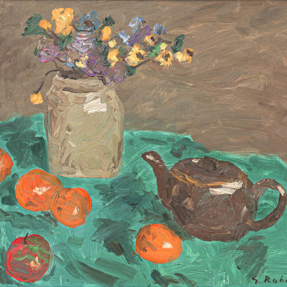Still Life with Vase, Flowers, Oranges, Apple, and Teapot-Goodridge Roberts, LL.D, R.C.A., O.S.A.