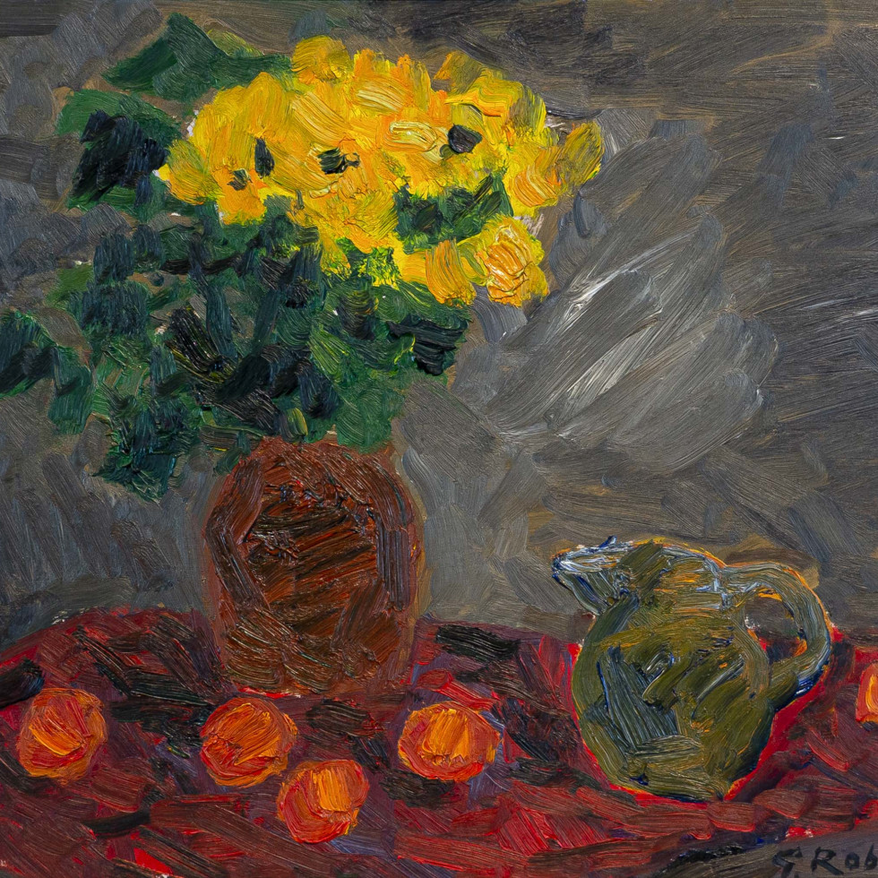 Still Life with Vase of Yellow Flowers, Jug, and Oranges-Goodridge Roberts, LL.D, R.C.A., O.S.A.