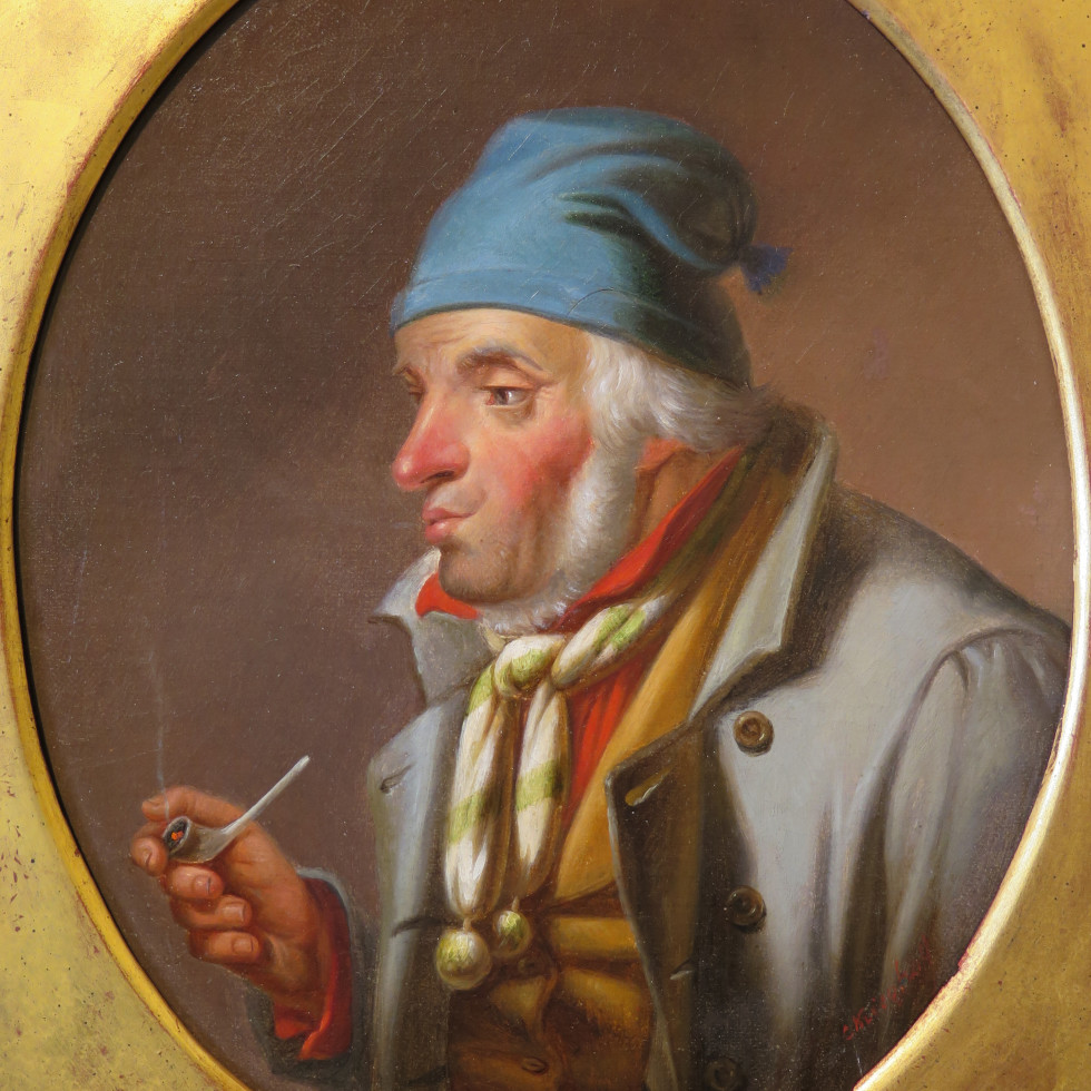 Habitant with a Pipe and Blue Toque-Cornelius Krieghoff