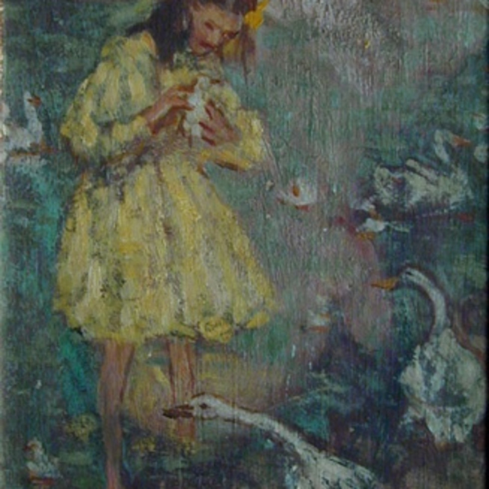"A Play of Color in Emily Coonan's Whimsical ""Duck Pond"" (c. 1910)-"