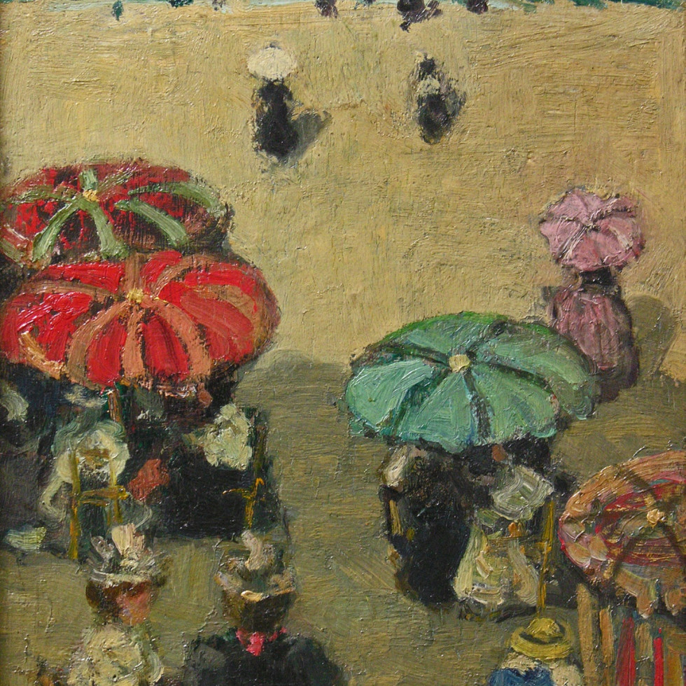 "''Umbrellas on the Beach, Brittany"" (c. 1898) By James Wilson Morrice"