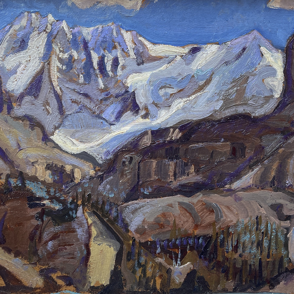 Rare 1928 Arthur Lismer painting of the Canadian Rockies is one of the finest of its type