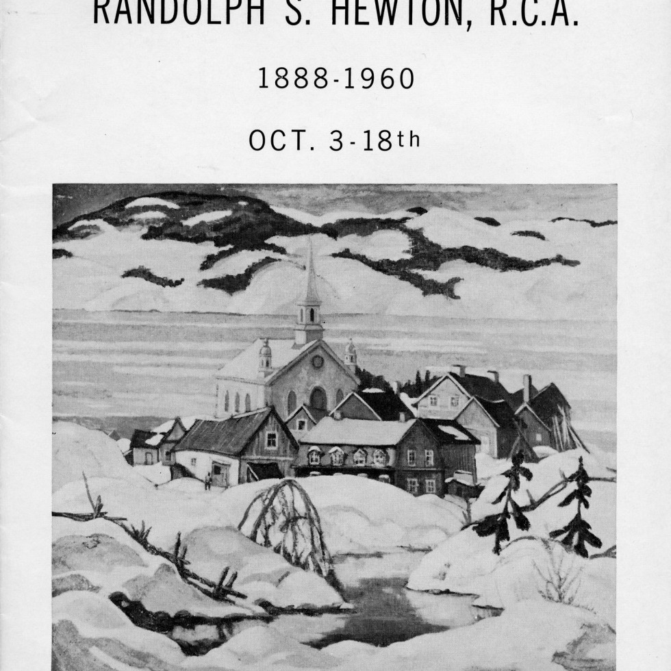 Randolph Hewton, R.C.A. (1888-1960) Retrospective Exhibition-Biography by A.Y. Jackson