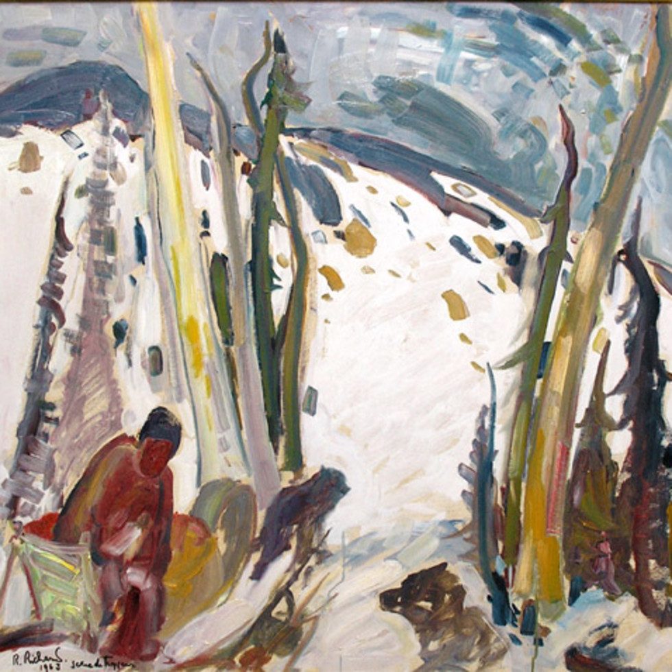 "René Richard Paints ""Trapper with Dogsled""-"