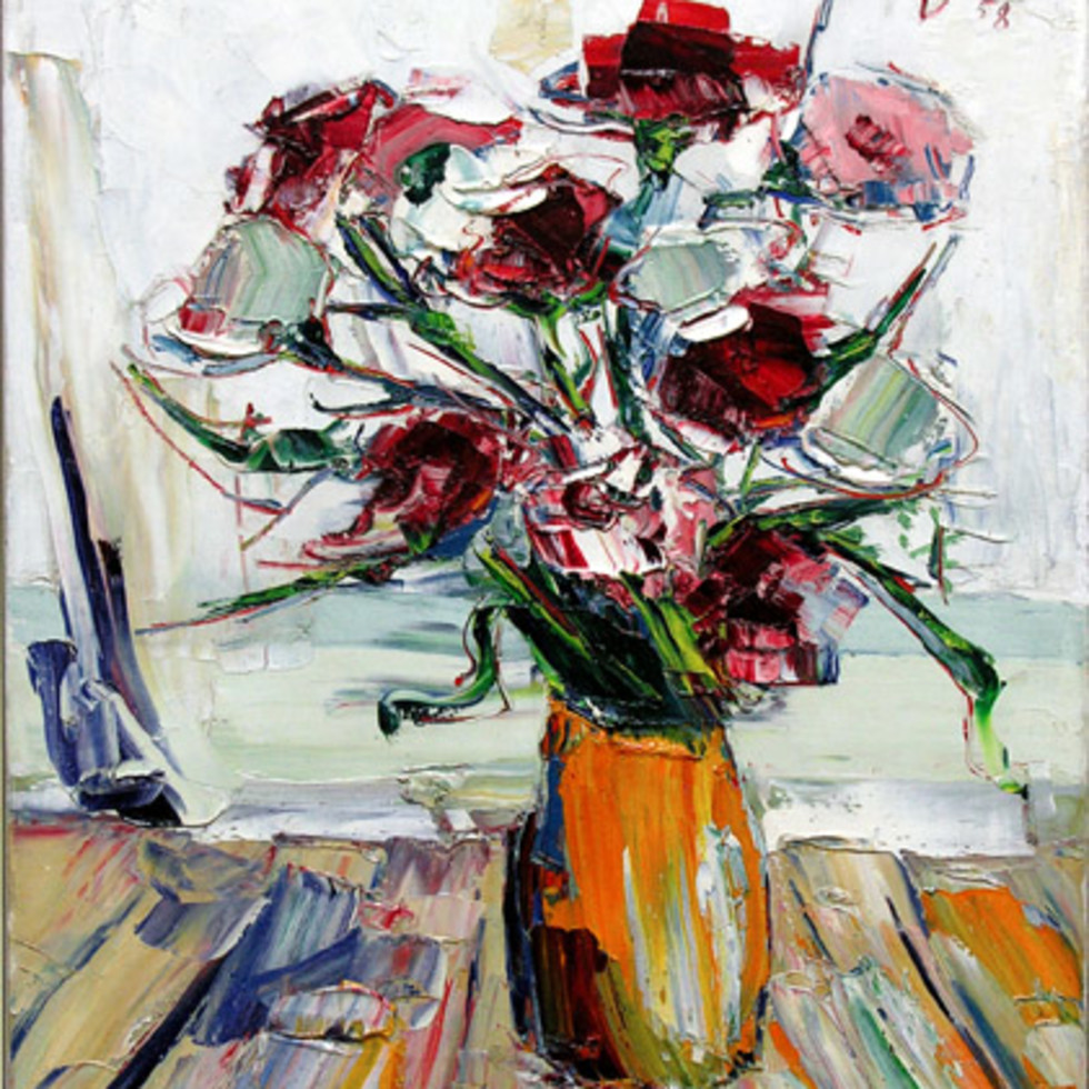 "Walter Klinkhoff's Admiration of Artist Sam Borenstein -Reminiscences; Sam Borenstein - ""Flowers in Yellow Vase"""