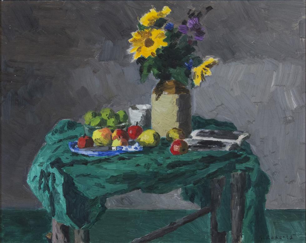 Goodridge Roberts, LL.D, R.C.A., O.S.A., Still Life of Flowers, Apples and Green Cloth