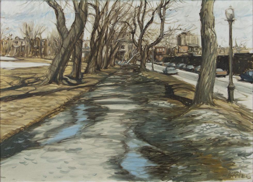 John Little, R.C.A., Le printemps à Rue Duluth et rue Esplanade, Fletcher's Field, 1980