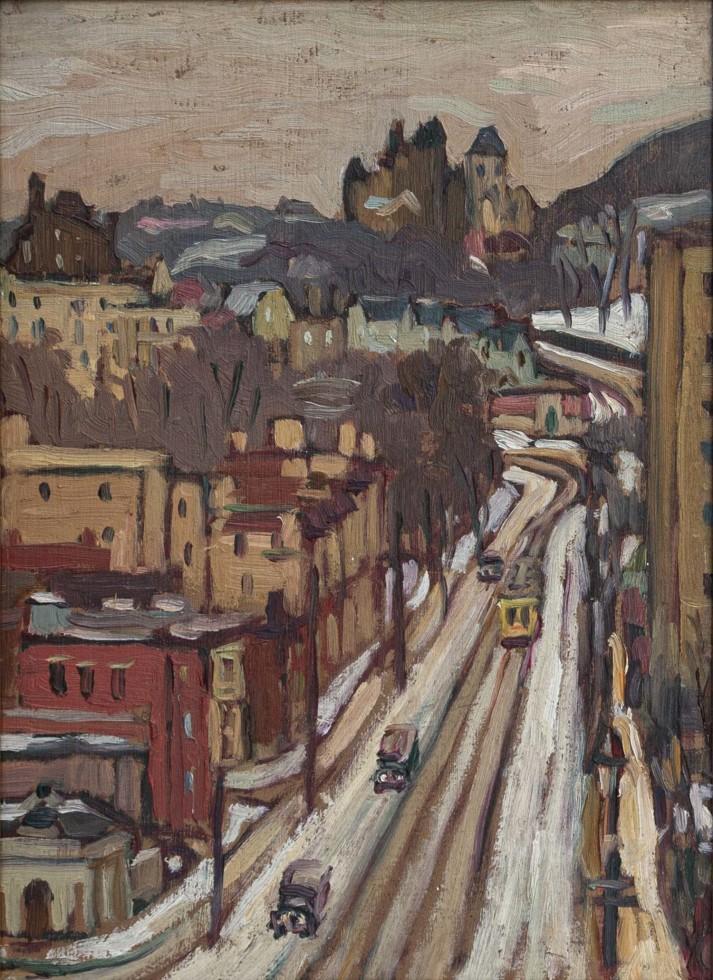 Kathleen Moir Morris, A.R.C.A., Looking up Côte-des-Neiges, 1930 (circa)