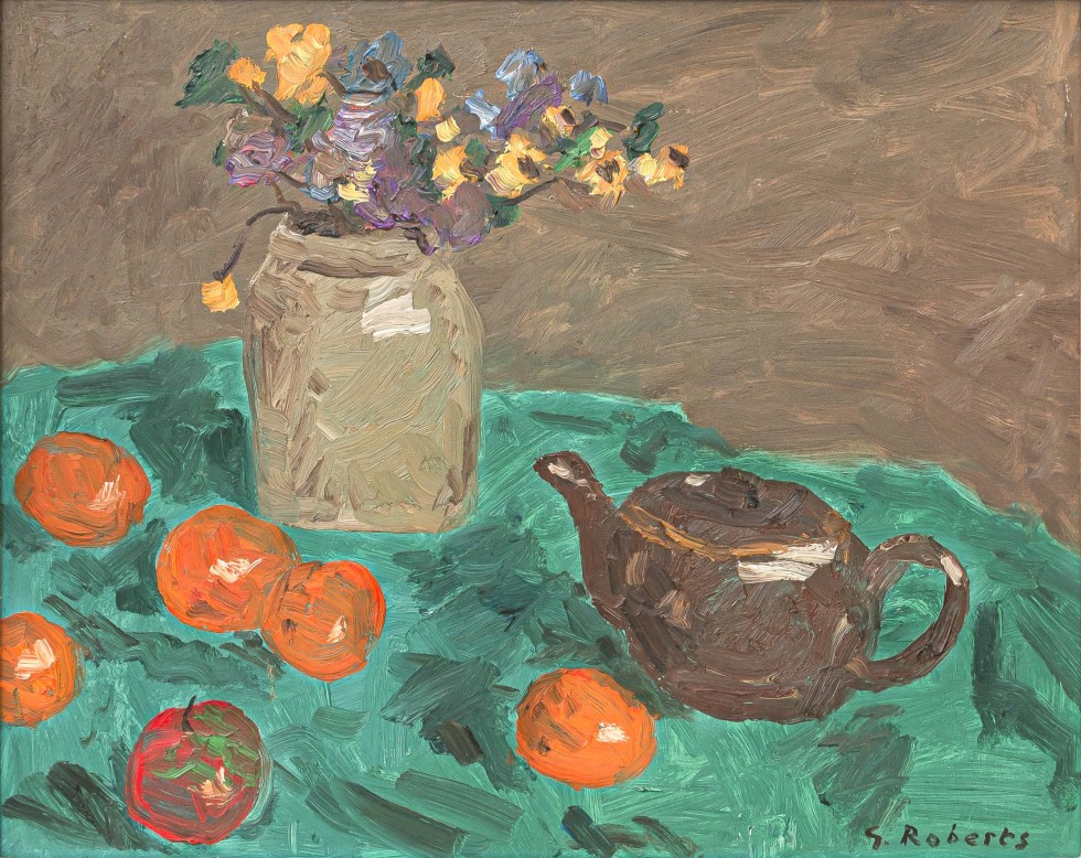 Goodridge Roberts, LL.D, R.C.A., O.S.A., Still Life with Vase, Flowers, Oranges, Apple, and Teapot