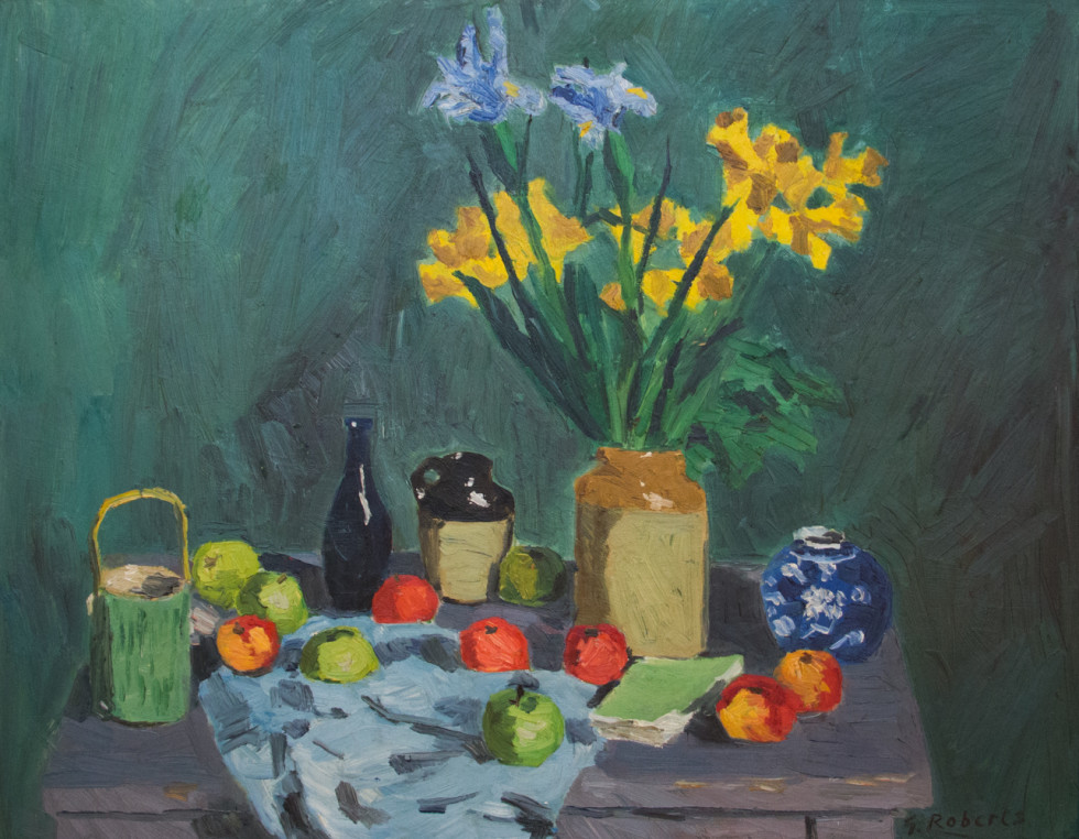Goodridge Roberts, LL.D, R.C.A., O.S.A., Still Life on Green Background, 1959 (circa)
