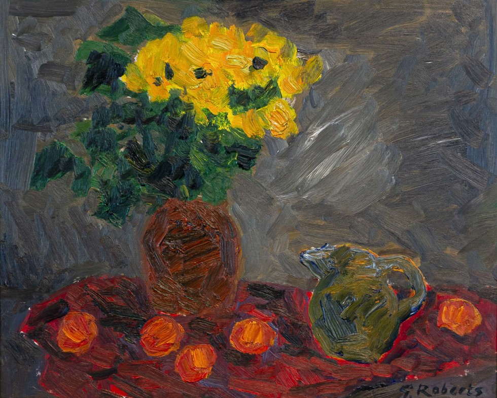 Goodridge Roberts, LL.D, R.C.A., O.S.A., Still Life with Vase of Yellow Flowers, Jug, and Oranges