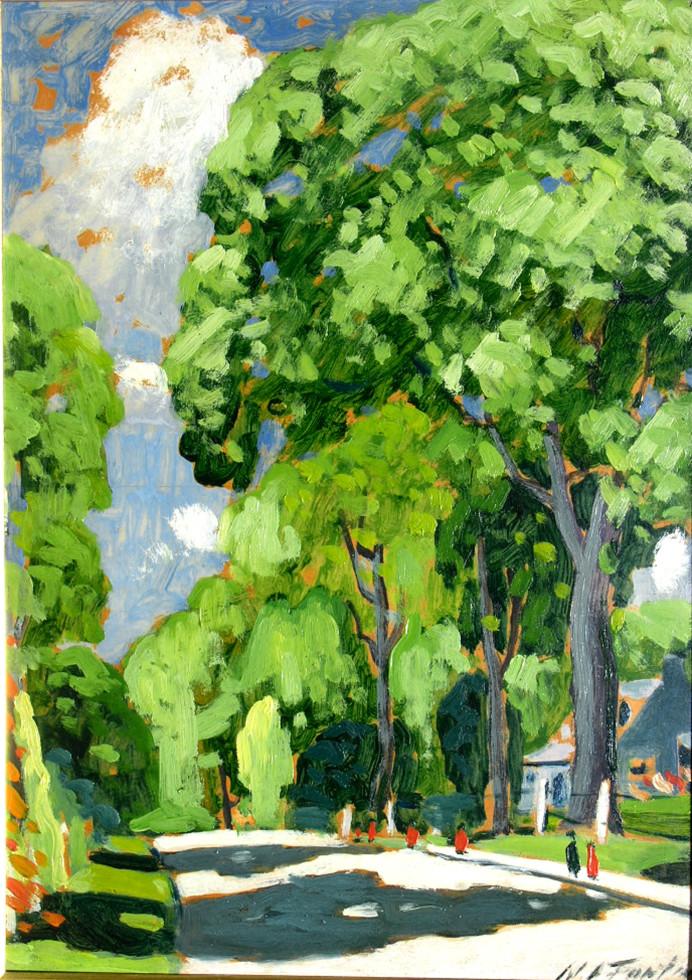 "Marc-Aurèle Fortin, A.R.C.A., Les grands ormes, Ste-Rose Oil on panel 14"" x 10"""