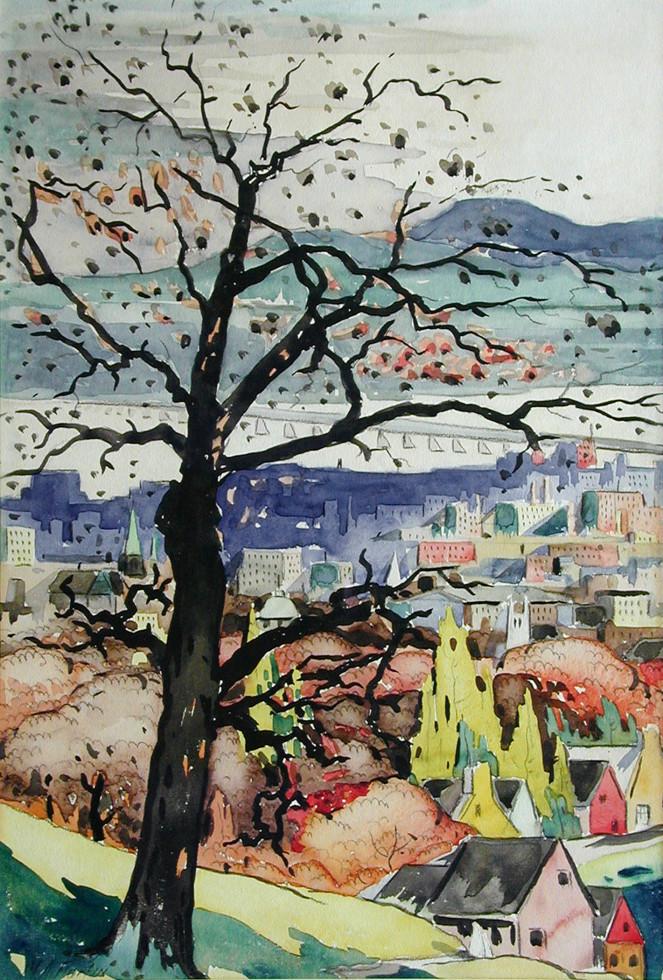 """Marc-Aurèle Fortin, A.R.C.A., Vue de Mont-Royal est Watercolour  19"""" x 13"""""""