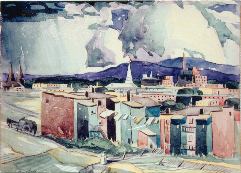 Marc-Aurèle Fortin, A.R.C.A. 1888-1970Hochelaga Watercolour 10 x 14 in 25.4 x 35.6 cm