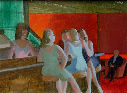 Philip Surrey, C.M., LL.D., R.C.A. 1910-1990The Little Club Bishop Street - Le Club Little, rue Bishop, 1966 (crica) Oil on masonite 6 x 8 in 15.2 x 20.3 cm