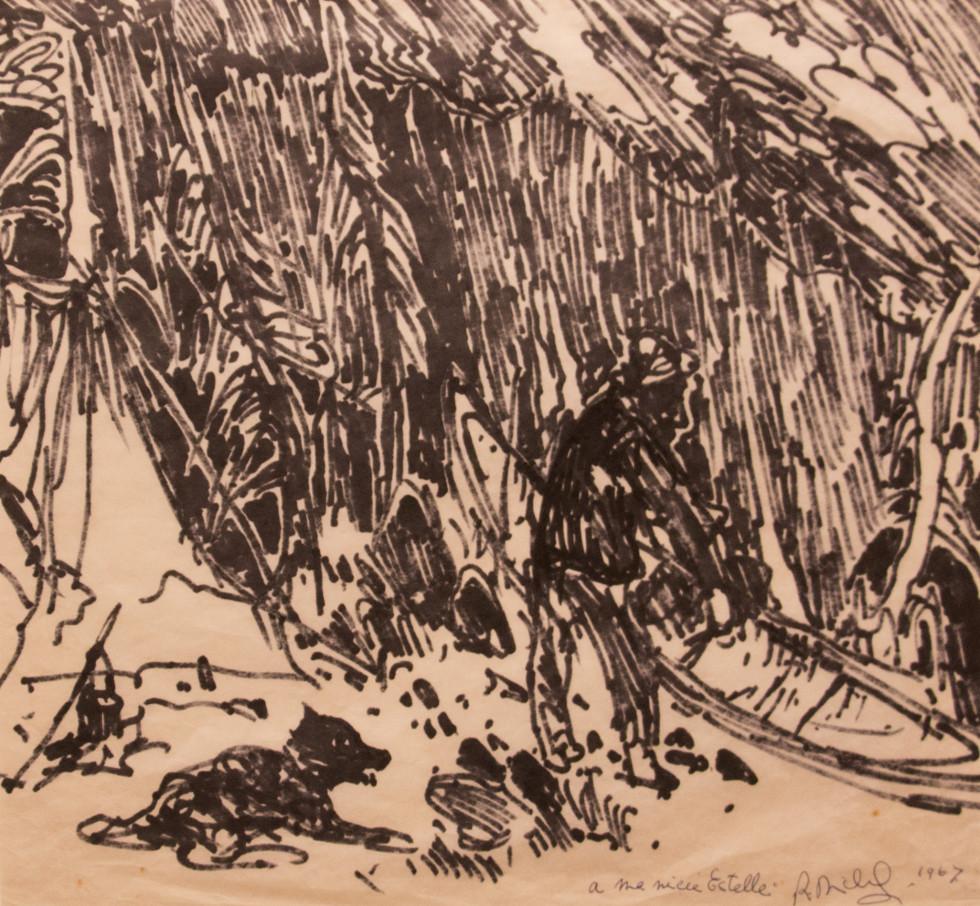 René Richard, C.M., R.C.A., Fin de journée, 1967 Felt pen on paper - Crayon feutre sur papier 11 x 12 3/4 in 27.9 x 32.4 cm