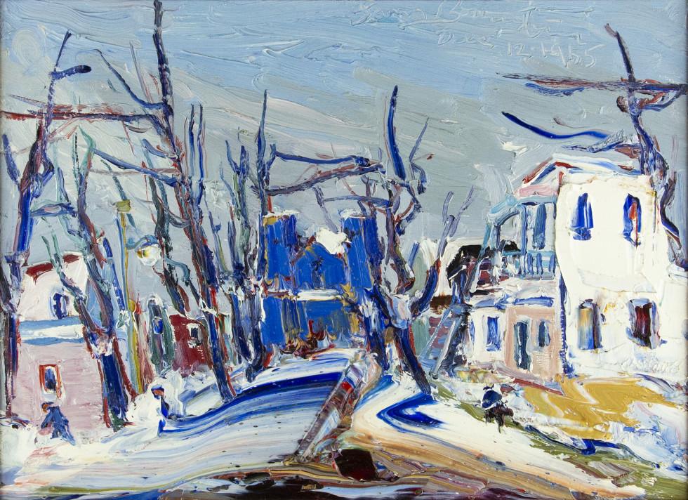 Sam Borenstein, La Rue Ste Agathe, Ste Agathe des Monts, 1965 Dec. 12 Oil on panel - Huile sur panneau 12 x 16 in 30.5 x 40.6 cm