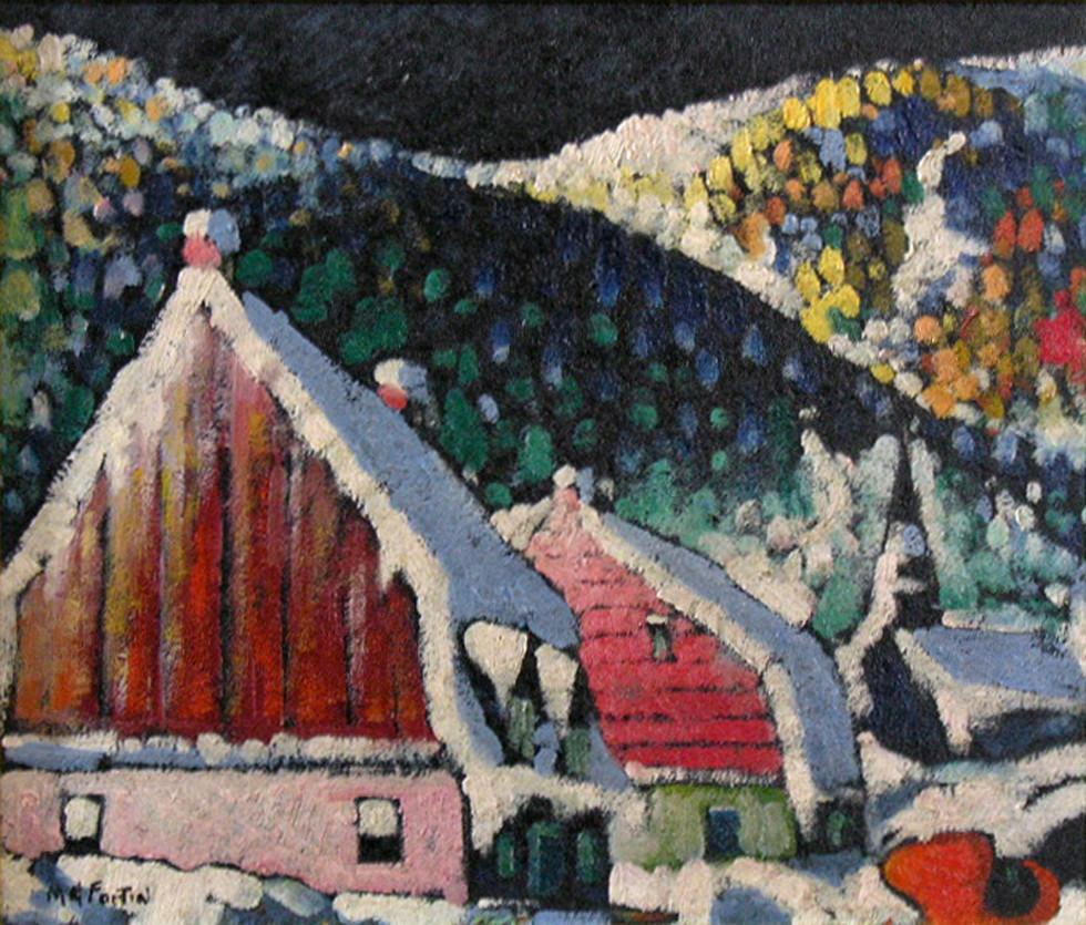 """Marc-Aurèle Fortin, A.R.C.A., Vieilles maisons laurentiennes Oil on panel  13"""" x 15"""""""