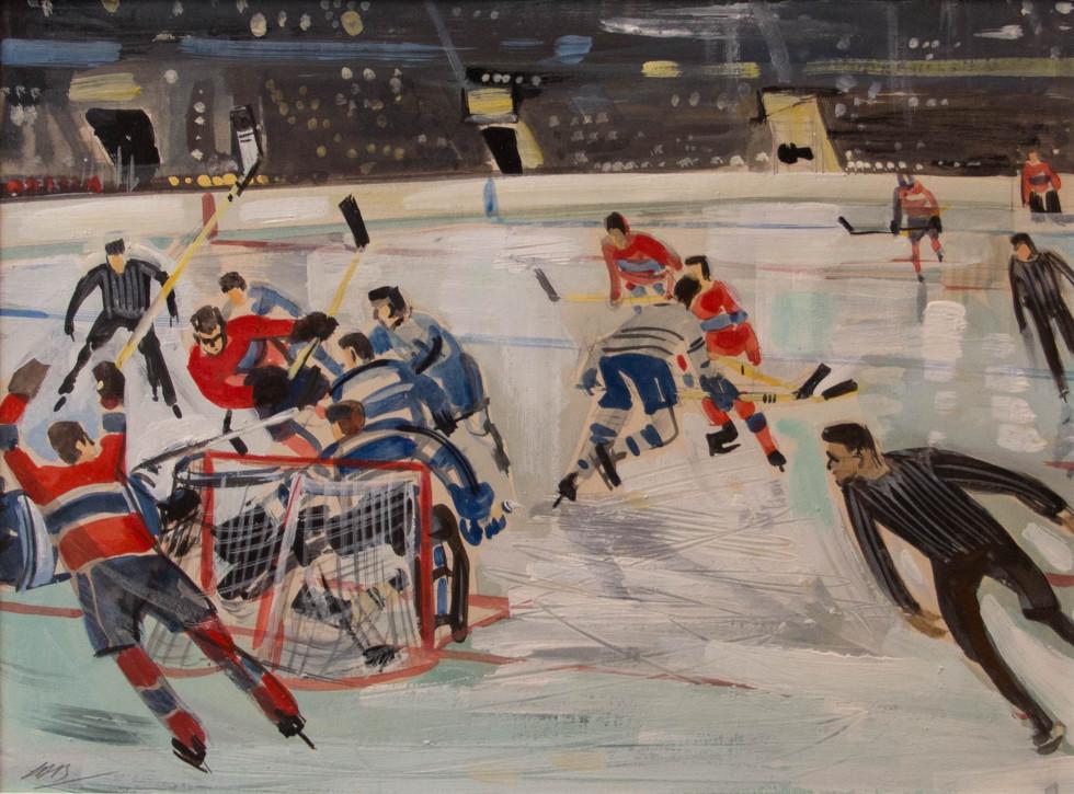 Lorne Bouchard, R.C.A. 1913-1978Toronto vs Montreal - Toronto vs Montréal, 1960 Signed, Circa Mixed media - Media mixte 8 x 10 Width: 10 Height: 8