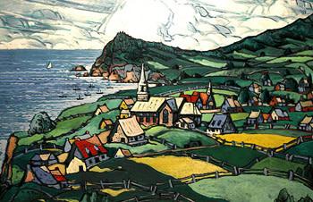 Marc-Aurèle Fortin, A.R.C.A., L'Anse-aux-Gascons Oil on canvas  38