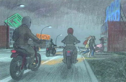 Philip Surrey, C.M., LL.D., R.C.A. 1910-1990Motorcyclists - Les motards Pastel 12 x 18 in 30.5 x 45.7 cm