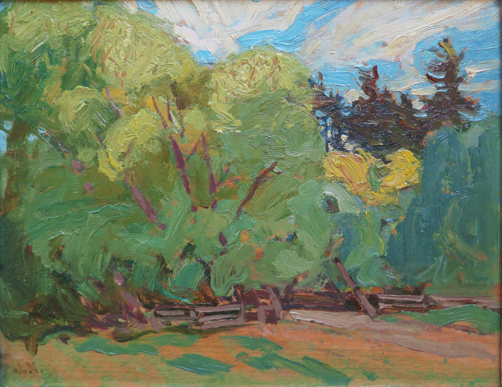J.E.H. MacDonald, R.C.A., O.S.A., York Mills, 1919 Oil on panel - Huile sur panneau 8 1/2 x 10 1/2 in 21.6 x 26.7 cm