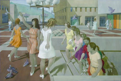 Philip Surrey, C.M., LL.D., R.C.A. 1910-1990Place Ville-Marie II, 1965 Oil on masonite 32 x 48 in 81.3 x 121.9 cm