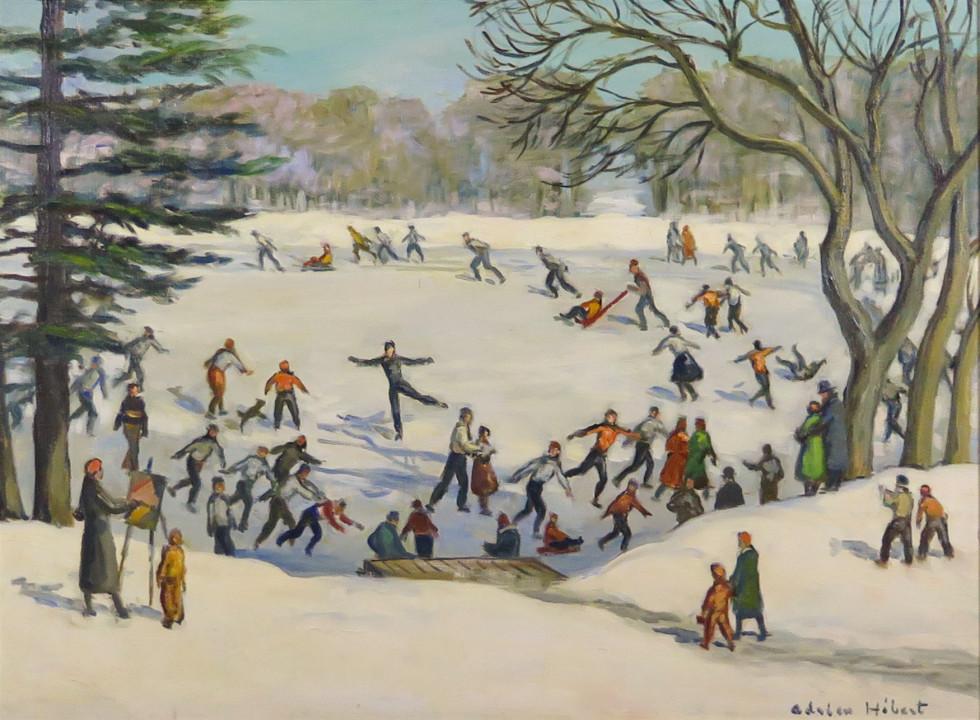 Adrien Hébert, R.C.A. 1890-1967Skating, Lafontaine Park, Montreal - Patinage, au parc Lafontaine, Montréal, c. 1936 Signed, 'Adrien Hébert' (recto, lower right) / Signé, 'Adrien Hébert' (recto, en bas à droite) Oil on canvas - Huile sur toile 26 3/4 x 37 1/4 in 67.9 x 94.6 cm