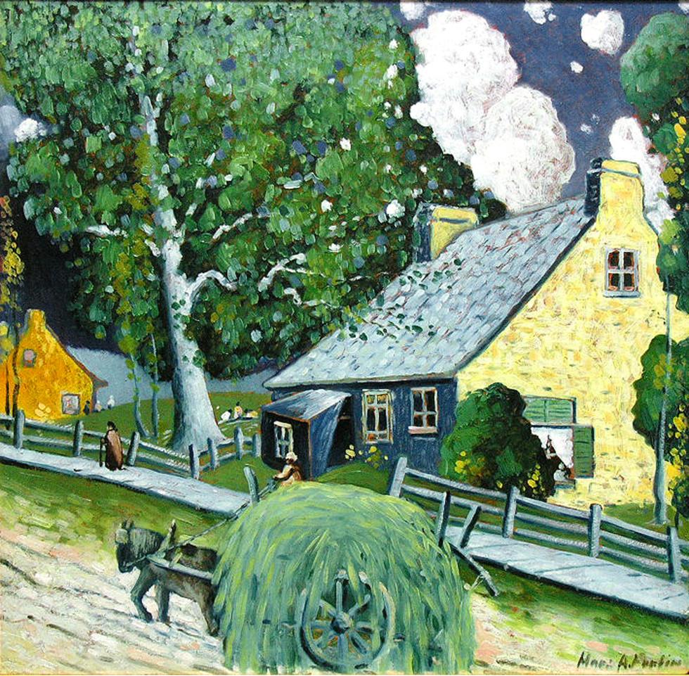 """Marc-Aurèle Fortin, A.R.C.A., Rue de village, Ste-Rose Oil on panel 23 ½"""" x 24 ¼"""""""