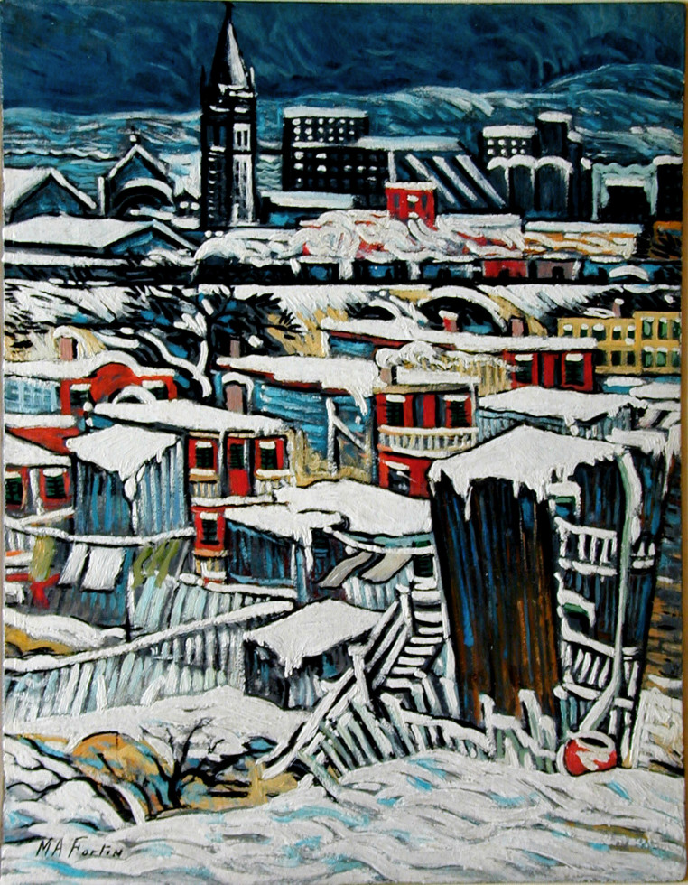 "Marc-Aurèle Fortin, A.R.C.A. 1888-1970Vue sur Hochelaga Oil on panel 18 ¼"" x 14"""
