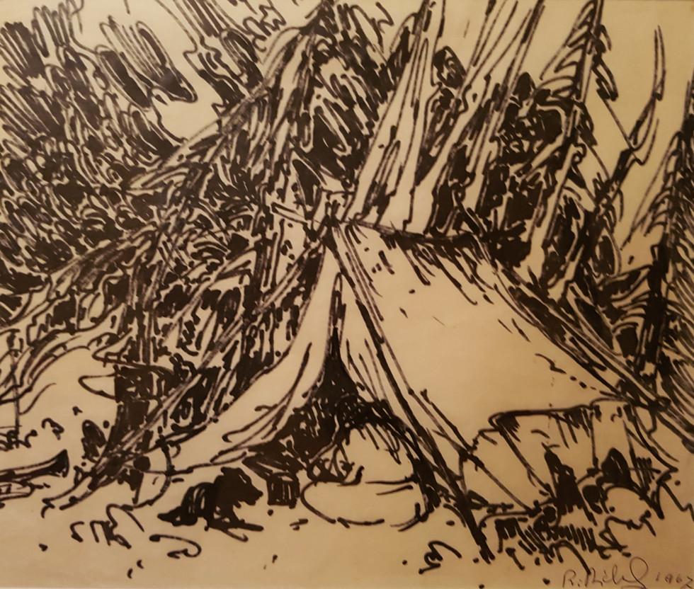 René Richard, C.M., R.C.A., Le repas du soir, 1967 Felt pen on paper - Feutre sur papier 11 1/2 x 13 in 29.2 x 33 cm